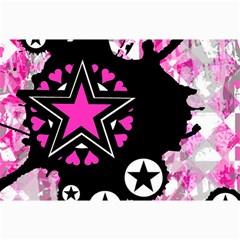 Pink Star Splatter Canvas 12  X 18  (unframed) by ArtistRoseanneJones