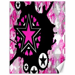 Pink Star Splatter Canvas 18  X 24  (unframed) by ArtistRoseanneJones