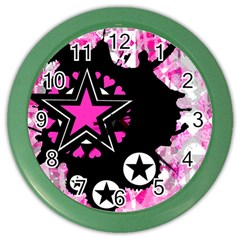 Pink Star Splatter Wall Clock (color) by ArtistRoseanneJones