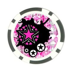 Pink Star Splatter Poker Chip (10 Pack) by ArtistRoseanneJones
