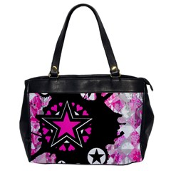 Pink Star Splatter Oversize Office Handbag (one Side) by ArtistRoseanneJones