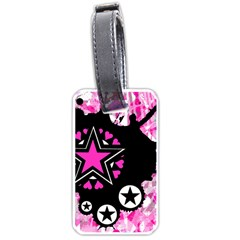 Pink Star Splatter Luggage Tag (one Side) by ArtistRoseanneJones