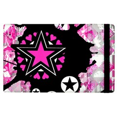Pink Star Splatter Apple Ipad 3/4 Flip Case by ArtistRoseanneJones