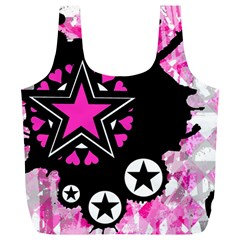Pink Star Splatter Reusable Bag (xl) by ArtistRoseanneJones