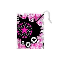 Pink Star Splatter Drawstring Pouch (small) by ArtistRoseanneJones