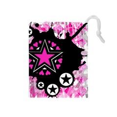 Pink Star Splatter Drawstring Pouch (medium) by ArtistRoseanneJones