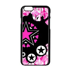 Pink Star Splatter Apple Iphone 6 Black Enamel Case by ArtistRoseanneJones