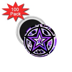 Purple Star 1 75  Button Magnet (100 Pack) by ArtistRoseanneJones