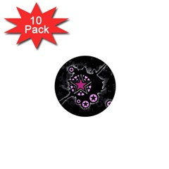 Pink Star Explosion 1  Mini Button Magnet (10 Pack) by ArtistRoseanneJones