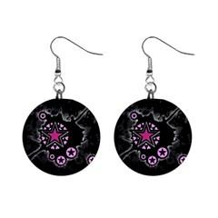 Pink Star Explosion Mini Button Earrings by ArtistRoseanneJones