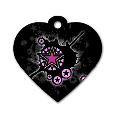 Pink Star Explosion Dog Tag Heart (one Sided)  by ArtistRoseanneJones