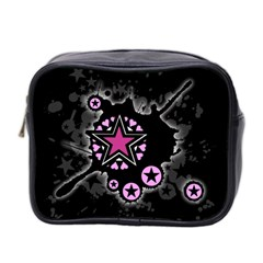 Pink Star Explosion Mini Travel Toiletry Bag (two Sides) by ArtistRoseanneJones