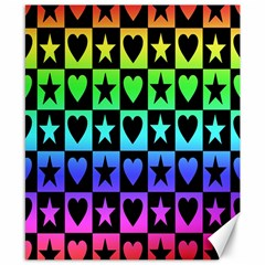 Rainbow Stars And Hearts Canvas 8  X 10  (unframed) by ArtistRoseanneJones