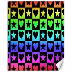 Rainbow Stars And Hearts Canvas 16  X 20  (unframed) by ArtistRoseanneJones