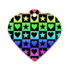 Rainbow Stars And Hearts Dog Tag Heart (one Sided)  by ArtistRoseanneJones