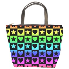 Rainbow Stars And Hearts Bucket Handbag