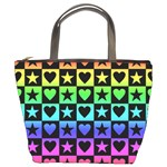 Rainbow Stars and Hearts Bucket Handbag Front