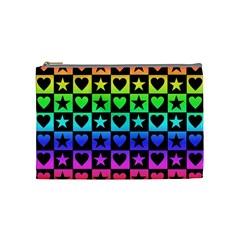 Rainbow Stars And Hearts Cosmetic Bag (medium) by ArtistRoseanneJones