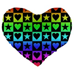 Rainbow Stars And Hearts Large 19  Premium Flano Heart Shape Cushion by ArtistRoseanneJones