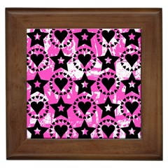 Star And Heart Pattern Framed Ceramic Tile by ArtistRoseanneJones