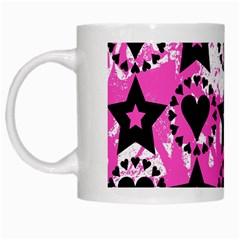 Star And Heart Pattern White Coffee Mug by ArtistRoseanneJones