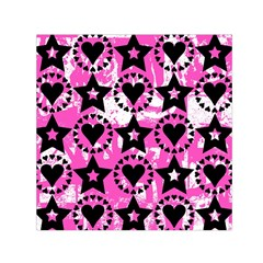 Star And Heart Pattern Small Satin Scarf (square)
