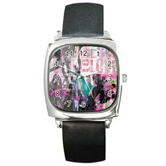 Graffiti Grunge Love Square Leather Watch by ArtistRoseanneJones
