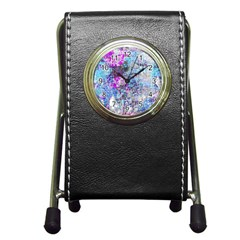 Graffiti Splatter Stationery Holder Clock by ArtistRoseanneJones