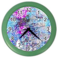 Graffiti Splatter Wall Clock (color) by ArtistRoseanneJones