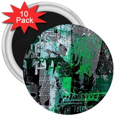 Green Urban Graffiti 3  Button Magnet (10 Pack) by ArtistRoseanneJones