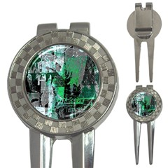 Green Urban Graffiti Golf Pitchfork & Ball Marker by ArtistRoseanneJones