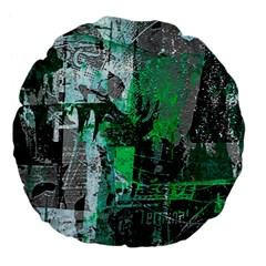Green Urban Graffiti Large 18  Premium Flano Round Cushion  by ArtistRoseanneJones