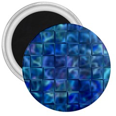 Blue Squares Tiles 3  Button Magnet by KirstenStar