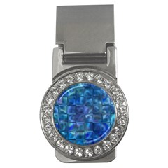 Blue Squares Tiles Money Clip (cz) by KirstenStar