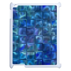 Blue Squares Tiles Apple Ipad 2 Case (white) by KirstenStar