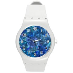 Blue Squares Tiles Plastic Sport Watch (medium) by KirstenStar