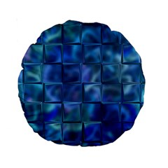 Blue Squares Tiles Standard 15  Premium Round Cushion  by KirstenStar