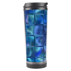 Blue Squares Tiles Travel Tumbler by KirstenStar
