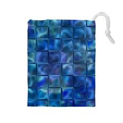 Blue Squares Tiles Drawstring Pouch (large) by KirstenStar