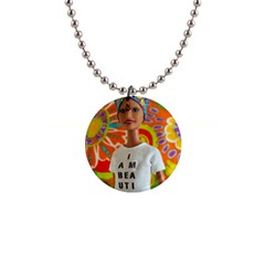 I Am Beautiful   Teresa Button Necklace by tiffanygholar
