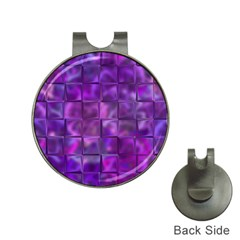 Purple Squares Hat Clip With Golf Ball Marker by KirstenStar