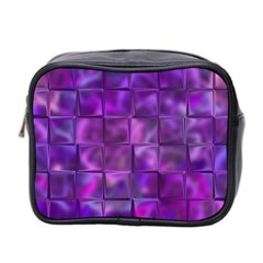 Purple Squares Mini Travel Toiletry Bag (two Sides) by KirstenStar
