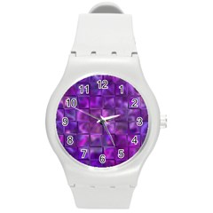 Purple Squares Plastic Sport Watch (medium) by KirstenStar