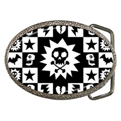 Goth Punk Skull Checkers Belt Buckle (oval)
