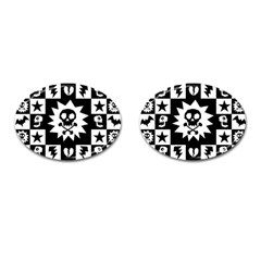 Goth Punk Skull Checkers Cufflinks (oval) by ArtistRoseanneJones