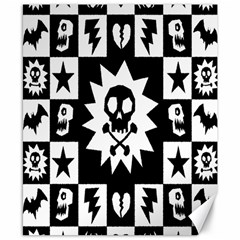 Goth Punk Skull Checkers Canvas 8  X 10  (unframed) by ArtistRoseanneJones