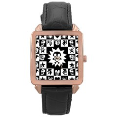 Goth Punk Skull Checkers Rose Gold Leather Watch  by ArtistRoseanneJones