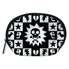 Goth Punk Skull Checkers Accessory Pouch (medium) by ArtistRoseanneJones