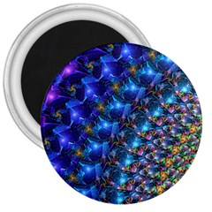 Blue Sunrise Fractal 3  Magnet by KirstenStar