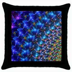 Blue Sunrise Fractal Throw Pillow Case (black) by KirstenStar